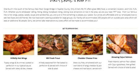 Dirty Ernie's Rib Pit Website redesign by Cucumber & Company Beckley Princeton Bluefield Charleston Huntington West Virginia Web Design