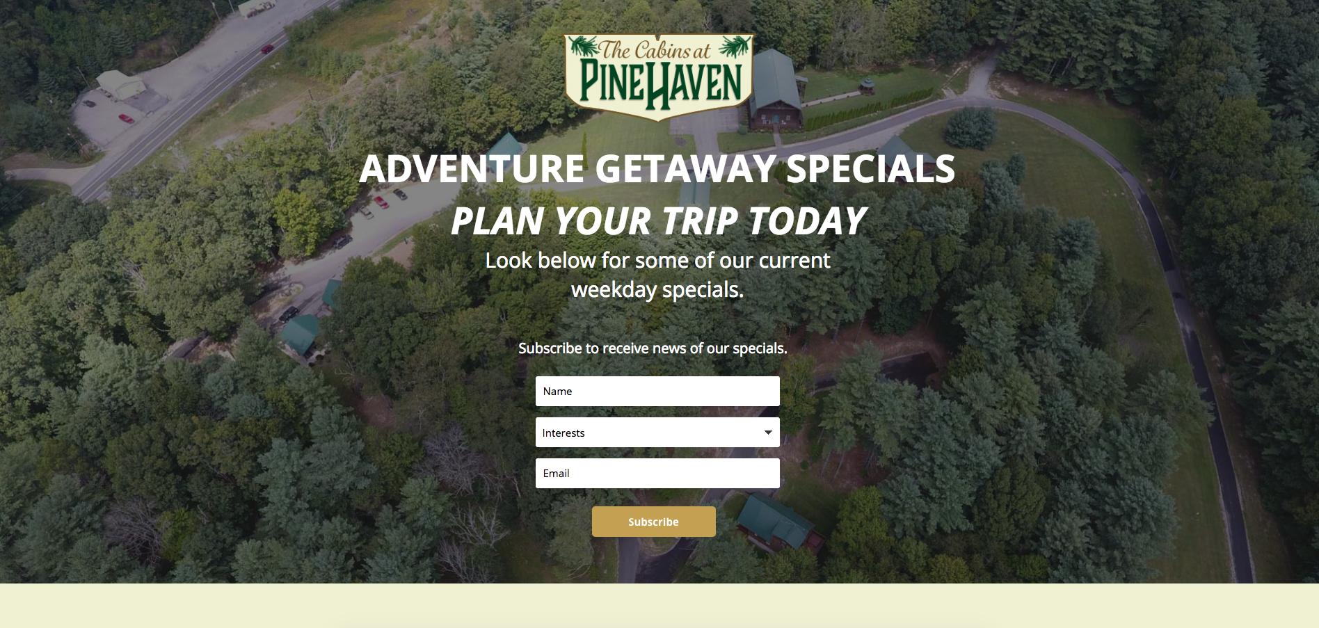 Cabsins at Pine Haven Facebook Marketing Cucumber & Co WV Web Design